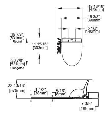 Toto Washlet C100 Dimensions