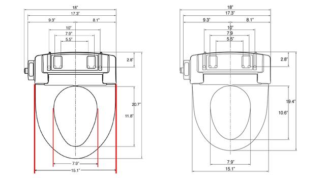 SmartBidet SB-1000 Dimensions