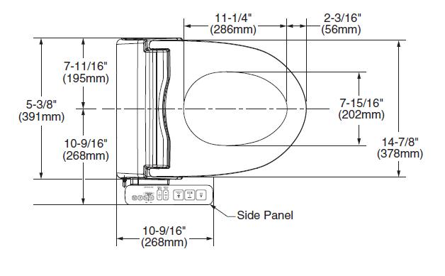 INAX 8013A bidet dimensions