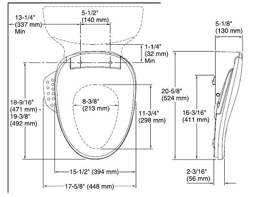 Kohler C3-155 Dimensions
