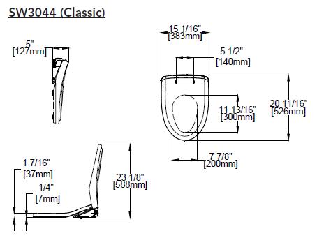Toto Washlet S500e Classic Dimensions