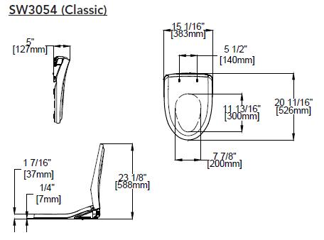 Toto Washlet S550e Classic Dimensions