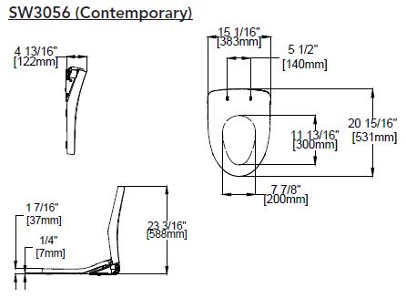 Toto Washlet S550e Contemporary Dimensions